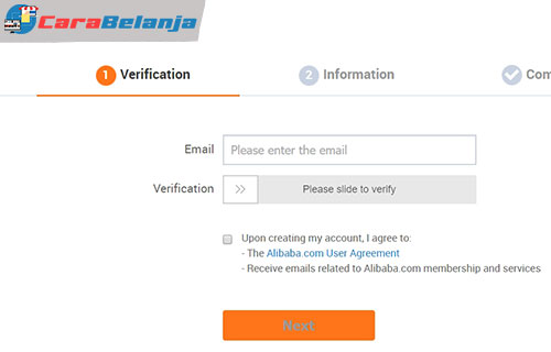 Membuat Akun di Website Alibaba