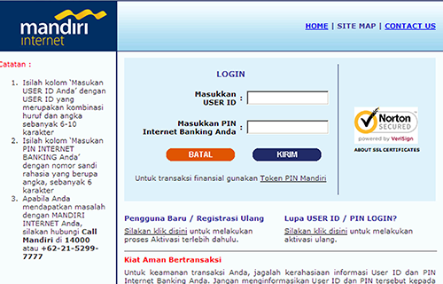 Melalui Internet Banking Mandiri