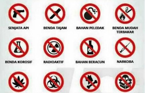 Barang yang dilarang di Wahana