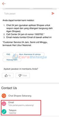 Hubungi Call Center 1500702 atau Email
