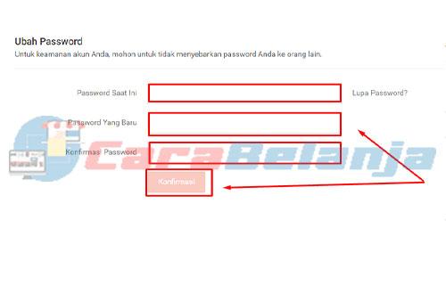 Masukan Password Saat Ini dan Baru