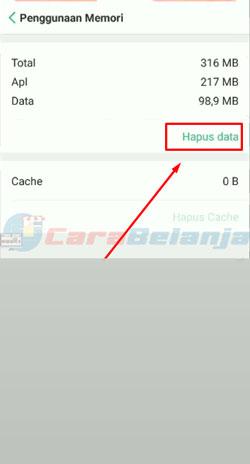6 Klik Hapus Cache 1