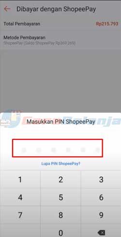 8 Input PIN ShopeePay
