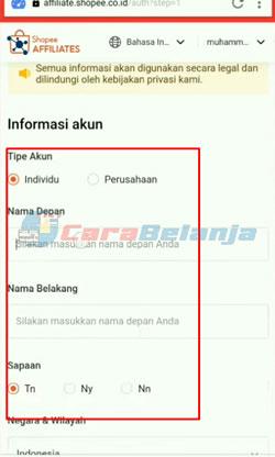 4 Isi Informasi Akun