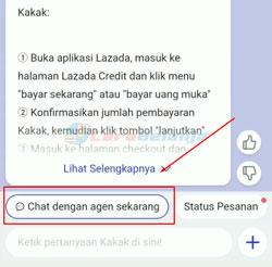 5 Klik Chat dengan Agen Lazada