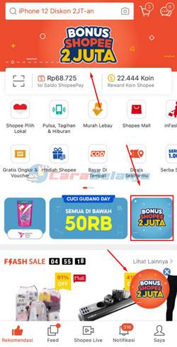 2 Klik Banner Bonus Shopee 2 Juta
