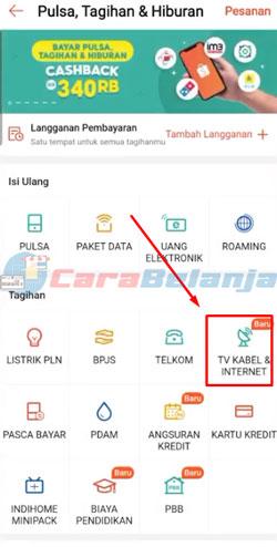 3 Pilih Menu TV Kabel Internet