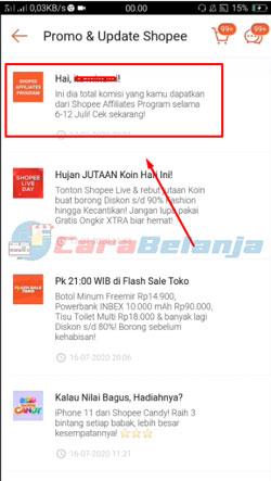 4 Klik Notifikasi Shopee Affiliates Program