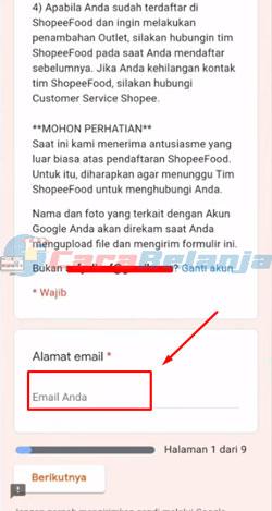 2 Masukkan Email