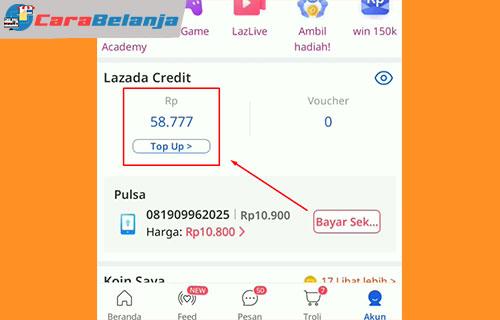 3 Pilih Menu Lazada Credit