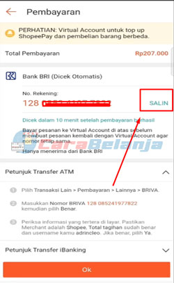 7 Salin Kode Pembayaran BRImo
